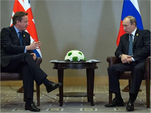 G20 Submit - British David Cameron with Russia Vladimir Putin