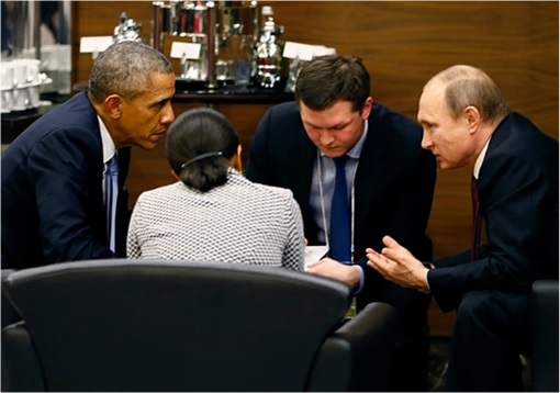 G20 Submit - US Barack Obama with Russia Vladimir Putin Discussion