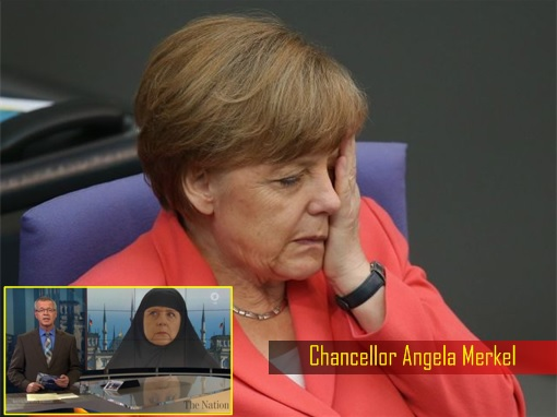 German Chancellor Angela Merkel Sad - Shown Wearing Hijab on German TV