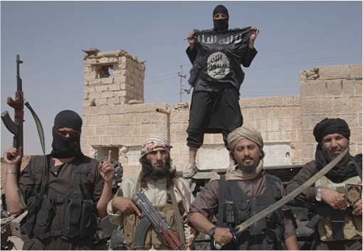 ISIS Islamic State Holding Flags Swords and Gun