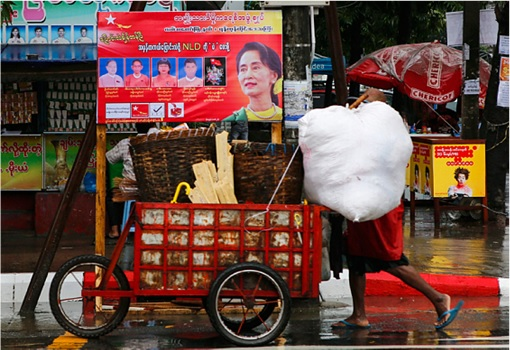 Myanmar Election in 25 Years - National League for Democracy NLD party campaign poster on trishaw