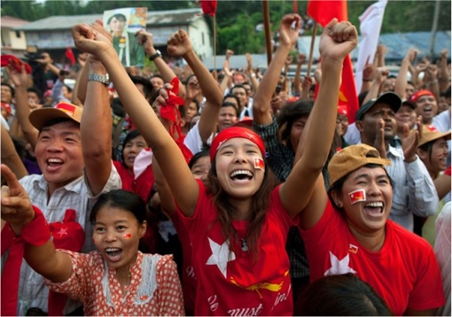 Myanmar Election in 25 Years - Voters Celebrate