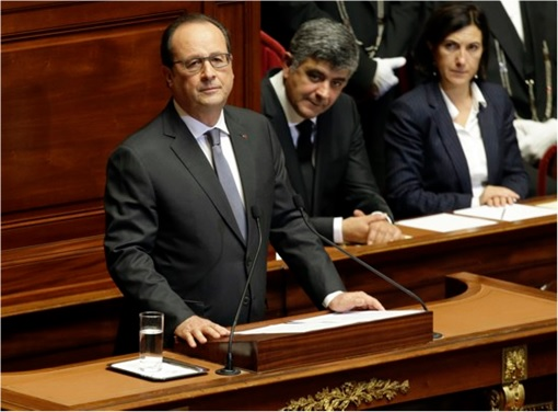 Paris Attacks by ISIS Terrorists - French President François Hollande at Parliament