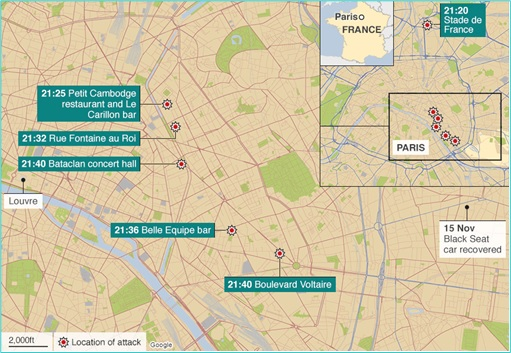 Paris Attacks by ISIS Terrorists - Location of Attack