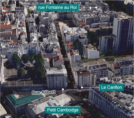 Paris Attacks by ISIS Terrorists - Map Petit Cambodge and Le Carillion