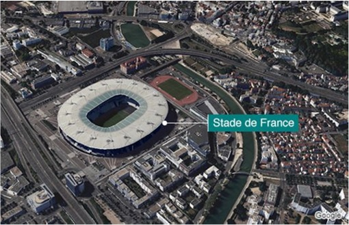 Paris Attacks by ISIS Terrorists - Map Stade de France