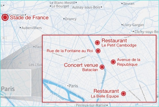 Paris Attacks by ISIS Terrorists - Six Locations