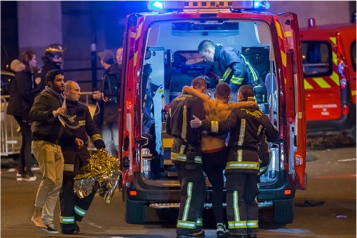 Paris Attacks by ISIS Terrorists - Victims Taken to Ambulance