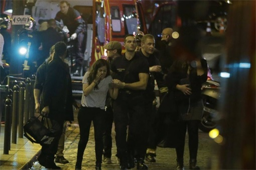 Paris Attacks by ISIS Terrorists - Victims Walking to Safety
