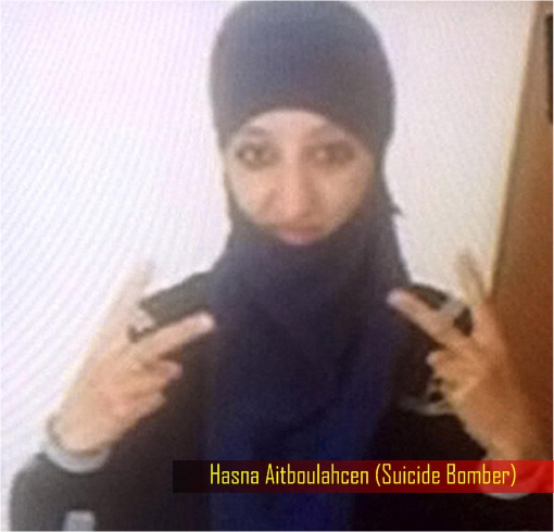 Paris Saint-Denis RAID - Hasna Aitboulahcen Suicide Bomber - Wearing Hijab with Two V Signs