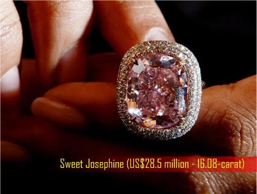 Sweet Josephine - rare 16.08-carat Pink Diamond for US Dollar 28.5 million