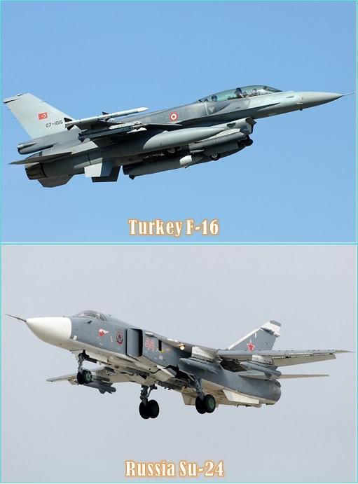 Turkey F-16 vs Russia Su-24