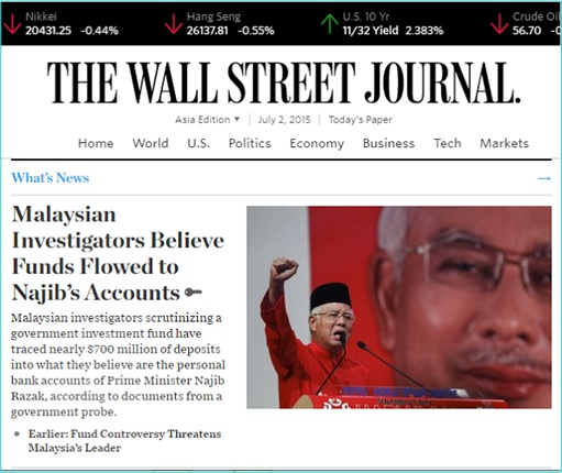 Wall Street Journal - Najib Receives USD700 Million