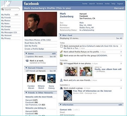2006 Facebook - Mark Zuckerberg Page Profile