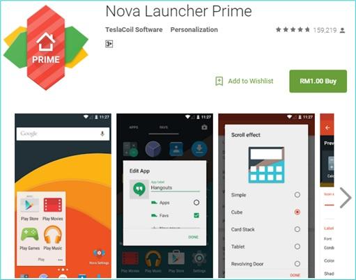 Android Nova Launcher Prime Best Deal - RM1