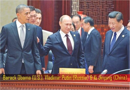 Barack Obama, Vladimir Putin and Xi Jinping