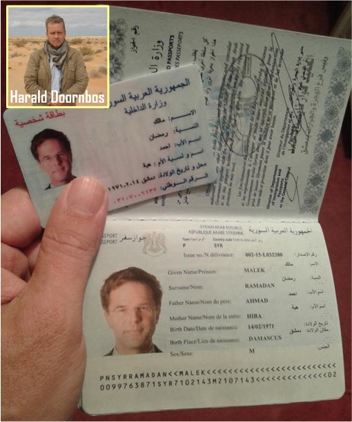 Fake Syrian Passport of Journalist Harald Doornbos - Netherlands Prime Minister Photo Mark Rutte