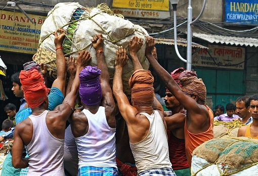 India Labour Hard At Work