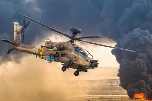 Israel Air Force Apache Helicopter in Action