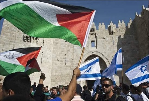 Israel-Palestine Conflict - Supporters Waving Flags