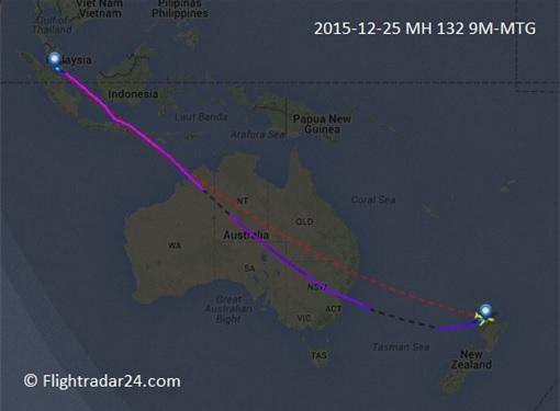 Malaysia Airlines MH132 Flight Deviation - Auckland to Kuala Lumpur - Flightradar24