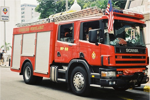 Malaysian Fire Engine on the Road