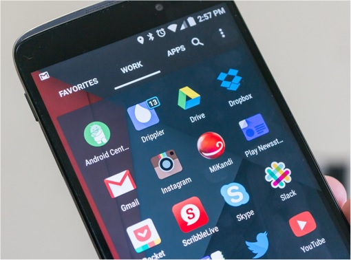 Nova Launcher Prime User Interface on Android Home Screen