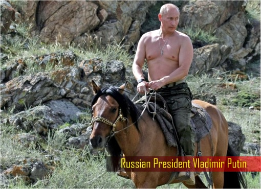 Russian Vladimir Putin Riding Horse Shirtless