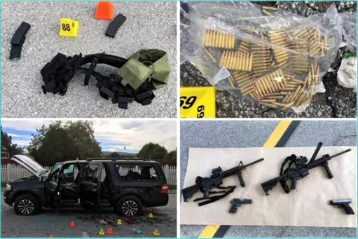 San Bernandino Shooting Terrorism - Bullets, Weapons, SUV