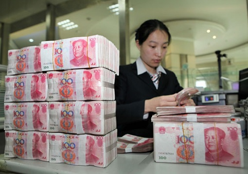 China Yuan Renminbi Currency - Officer Counting Money