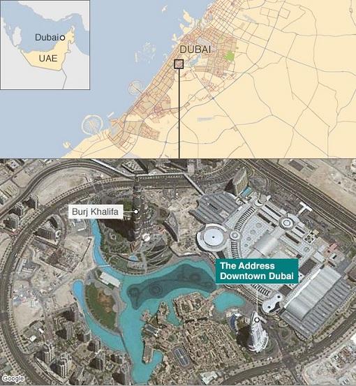 Dubai The Address Hotel Fire - Google Map - yards from Burj Khalifa