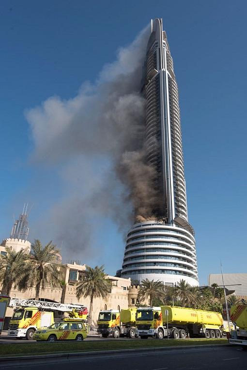 Dubai The Address Hotel Fire - Still Standing the Next Day