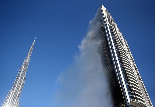Dubai The Address Hotel and Burj Khalifa - Fire Smoke Blowing