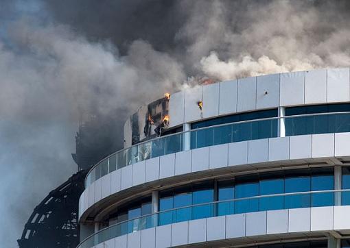 Dubai The Address Hotel on Fire - Exterior building
