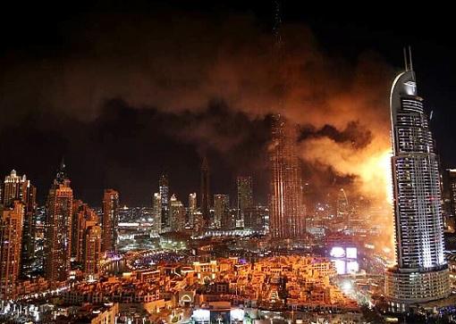 Dubai The Address Hotel on Fire