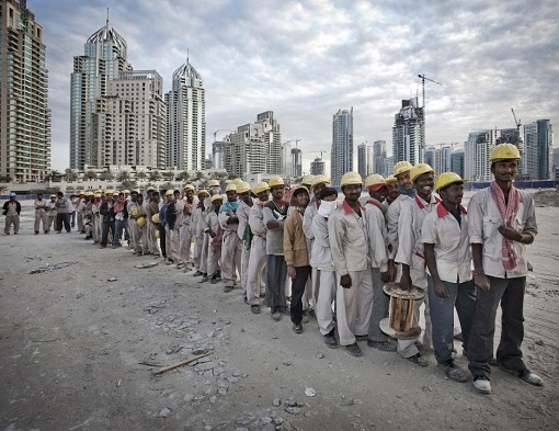 Foreign Construction Workers Building Dubai Skyscrapers - Queuing