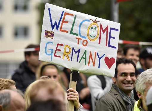 German - Syrian Refugees Welcome - Banner by German Men