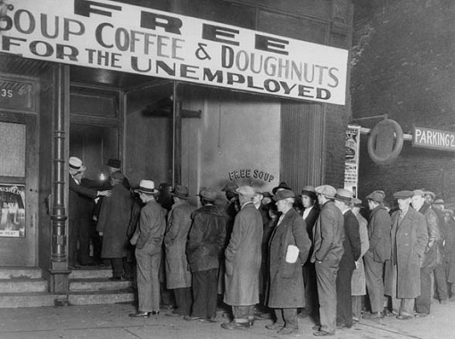 Great Depression Economy - Free Soup, Coffee and Doughnuts for Unemployed