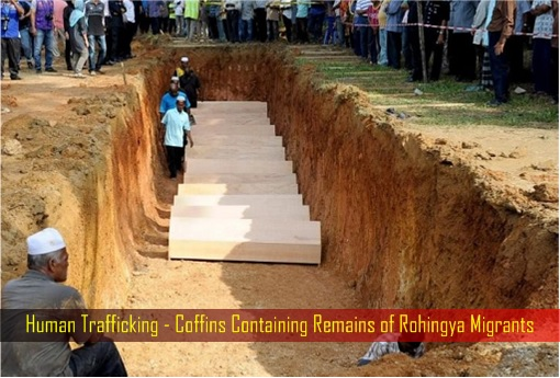 Human Trafficking - Coffins Containing Remains of Rohingya Migrants