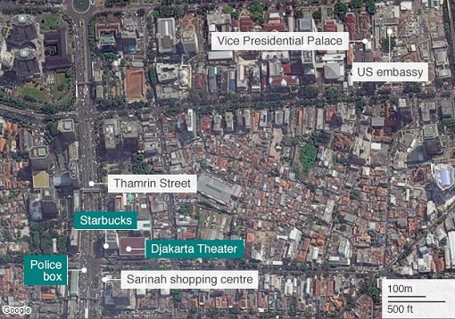 Jakarta Terrorist Attack - Map of Attack Spots