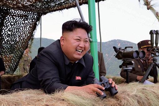 Kim Jong-Un with Binoculars at Camp