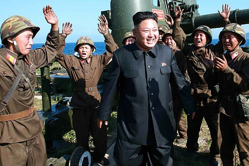 North Korea Kim Jong-un Laugh - Worshipped by Soldiers