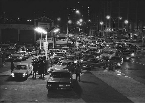 Oil Embargo 1973 by OPEC - lines at gas stations stretching miles in USA