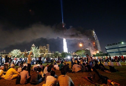 People Viewing The Address Hotel on Fire and Burj Khalifa