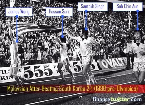 Celebration - Malaysian After Beating South Korea 2-1 - 1980 pre-Olympics