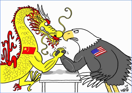 China vs America - Dragon arm wrestling Eagle