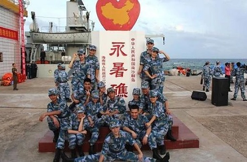 Fiery Cross Reef in South China Sea - Military Posing