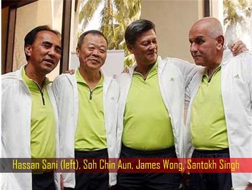 Hassan Sani, Soh Chin Aun, James Wong, Santokh Singh - Football Malaysia