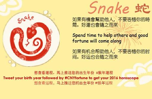 Twitter Fortune Telling 2016 - Snake Zodiac