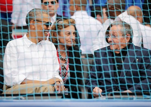 Barack Obama and Cuban President Raul Castro - Major League Baseball exhibition game - Tampa Bay Rays vs Cuban National Team